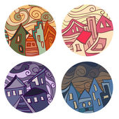 Medals with houses — Stock Vector