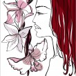 Beautiful womwith flowers — Vector de stock #6497381