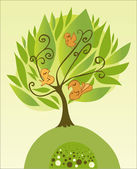 Tree with birds — Vector de stock