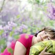 Womrelaxing in nature — Stock Photo #5957983