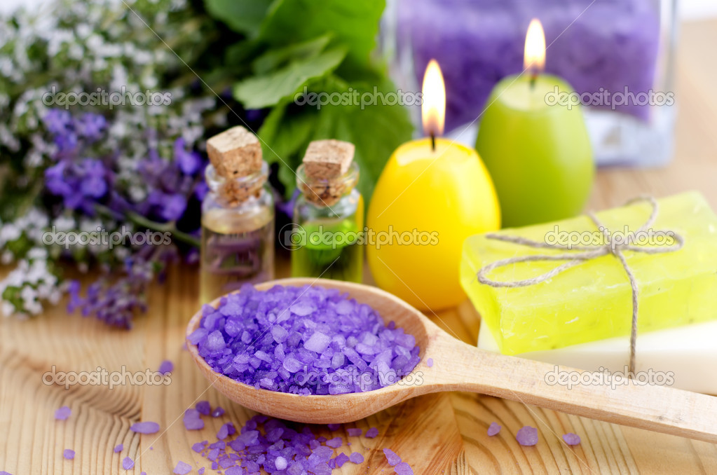 Aroma oil and salt for spa  Stock Photo #5958207