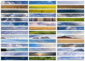 Banners collage: sky, ground and water — Stock Photo