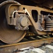 Old rusty train wheels - Stock Photo