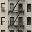 New York City apartment stairway black and white — Stock Photo