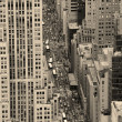 Royalty-Free Stock Photo: New York City Manhattan street aerial view black and white
