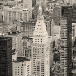 New York City Manhattan downtown skyline black and white — Stock Photo
