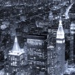 New York City Manhattan skyline aerial view at dusk black and wh — Stock Photo
