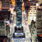 New York City Manhattan street aerial view at night — Stock Photo