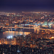 New York City Manhattan skyline aerial view at dusk - Stock Photo