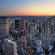 New York City Manhattan skyline panorama sunset aerial view with — 图库照片
