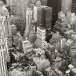 New York City Manhattan skyline aerial view black and white - Stock Photo