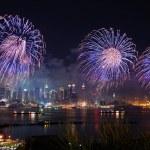 New York City Manhattan fireworks — Stock Photo