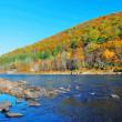Autumn Mountain with river panorama — Foto de Stock