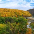 Delaware Water Gap panorama in Autumn - Stock Photo