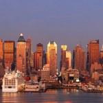 Постер, плакат: Urban city panorama New York City Manhattan