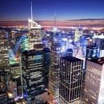 Horizonte de Manhattan New York City Times Square — Fotografia Stock  #5567790