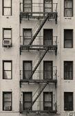 New York City apartment stairway black and white — Stock Photo