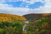 Delaware Water Gap panorama in Autumn — Stock Photo