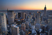 New York City Manhattan skyline panorama sunset aerial view with — Stock Photo