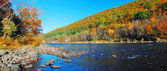 Autumn Mountain with river panorama — Stock Photo