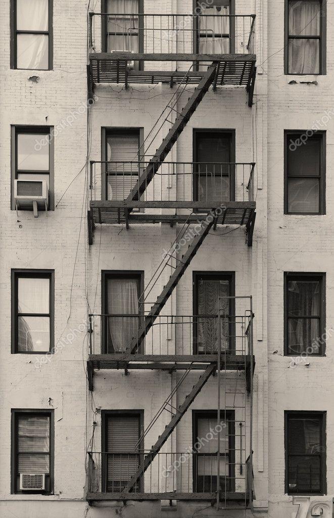 New York City Apartment Stairway Black And White Stock