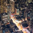 New York City Manhattan street aerial view at night — Foto Stock