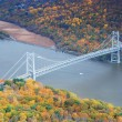 Bear Mountain bridge aerial view in Autumn — Stock Photo
