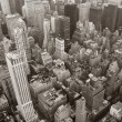 New York City Manhattan skyline aerial view black and white — Stock Photo #5593815