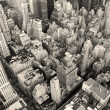 New York City Manhattan skyline aerial view black and white — Foto de Stock