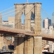 Stock Photo: New York City Brooklyn Bridge closeup