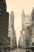 New york city manhattan rua vista preto e branco — Foto Stock