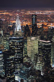 Vue aérienne de skyline manhattan new york city au crépuscule — Photo