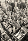 New york city manhattan skyline vue aérienne noir et blanc — Photo