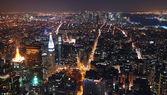 New York City Manhattan skyline aerial view panorama at sunset — Stock Photo