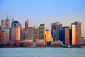 Hudson river sonnenuntergang, new york city — Stockfoto
