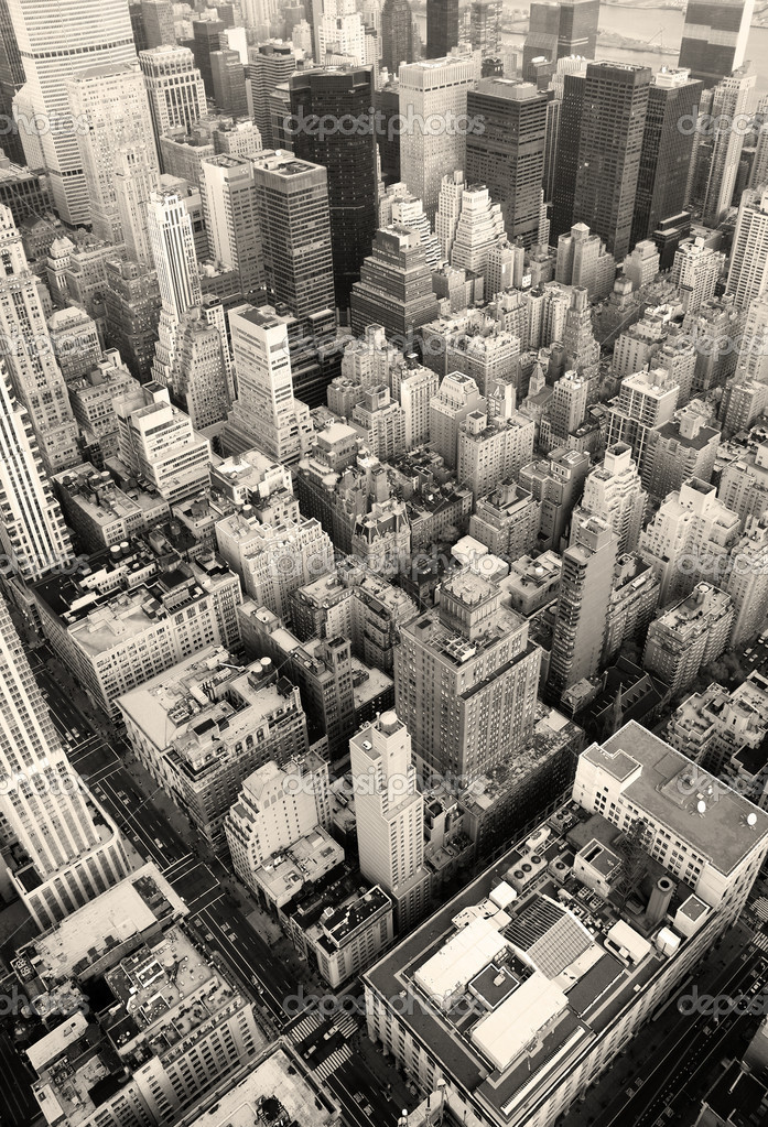 New York City Manhattan skyline aerial view black and white with skyscrapers and street.  Stock Photo #5593819