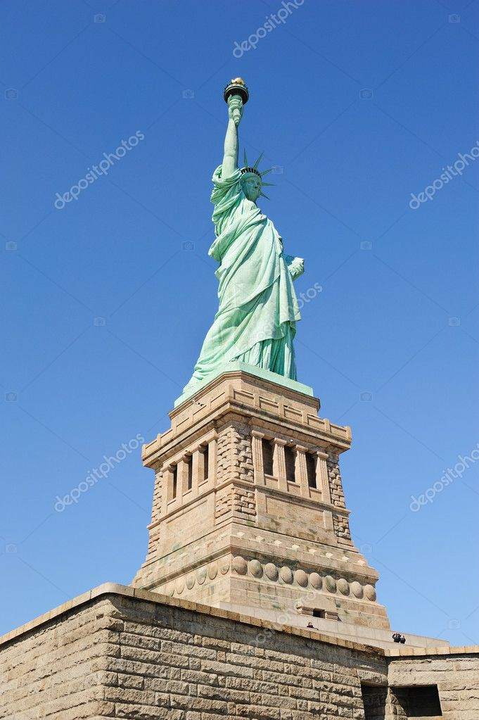 Statue of Liberty on Liberty Island closeup with blue sky in New York City Manhattan — Stock Photo #6083482