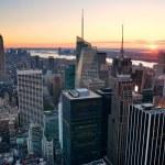 New York City Manhattan skyline sunset — Stock Photo