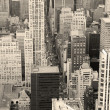 New York City Manhattan skyline aerial view black and white — Stock Photo