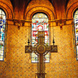 Cross in Boston Trinity Church — Stock Photo