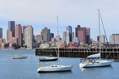 Sailing boat and Boston downtown — Stock Photo