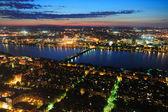 Boston Charles River aerial at dusk — Stock Photo
