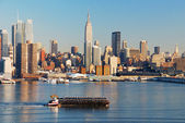 NEW YORK CITY OVER HUDSON RIVER — Stock Photo