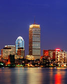 Boston city skyline at dusk — Stock Photo