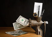 Money and meat grinder — Stock Photo