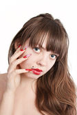 Girl with beautiful nails — Stock Photo