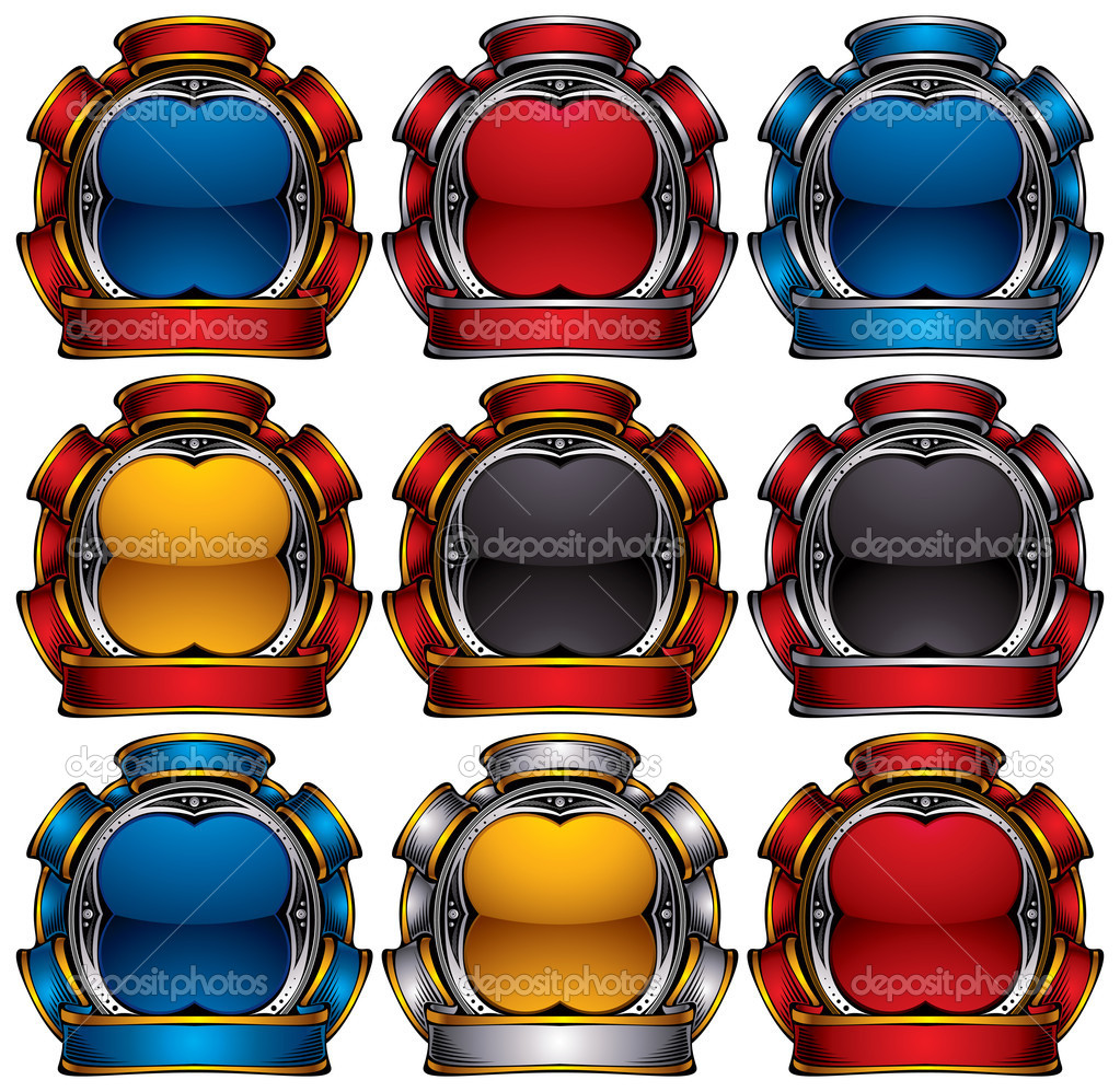 Vintage badges, colors set. Vector emblems. — Stock Vector #5843216