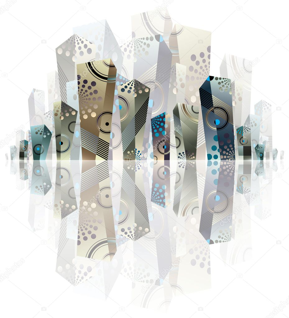 City panorama artistic illustration, creative vector abstract urban background, with three dimensional shapes that can be used separately. — Stock Vector #6658784