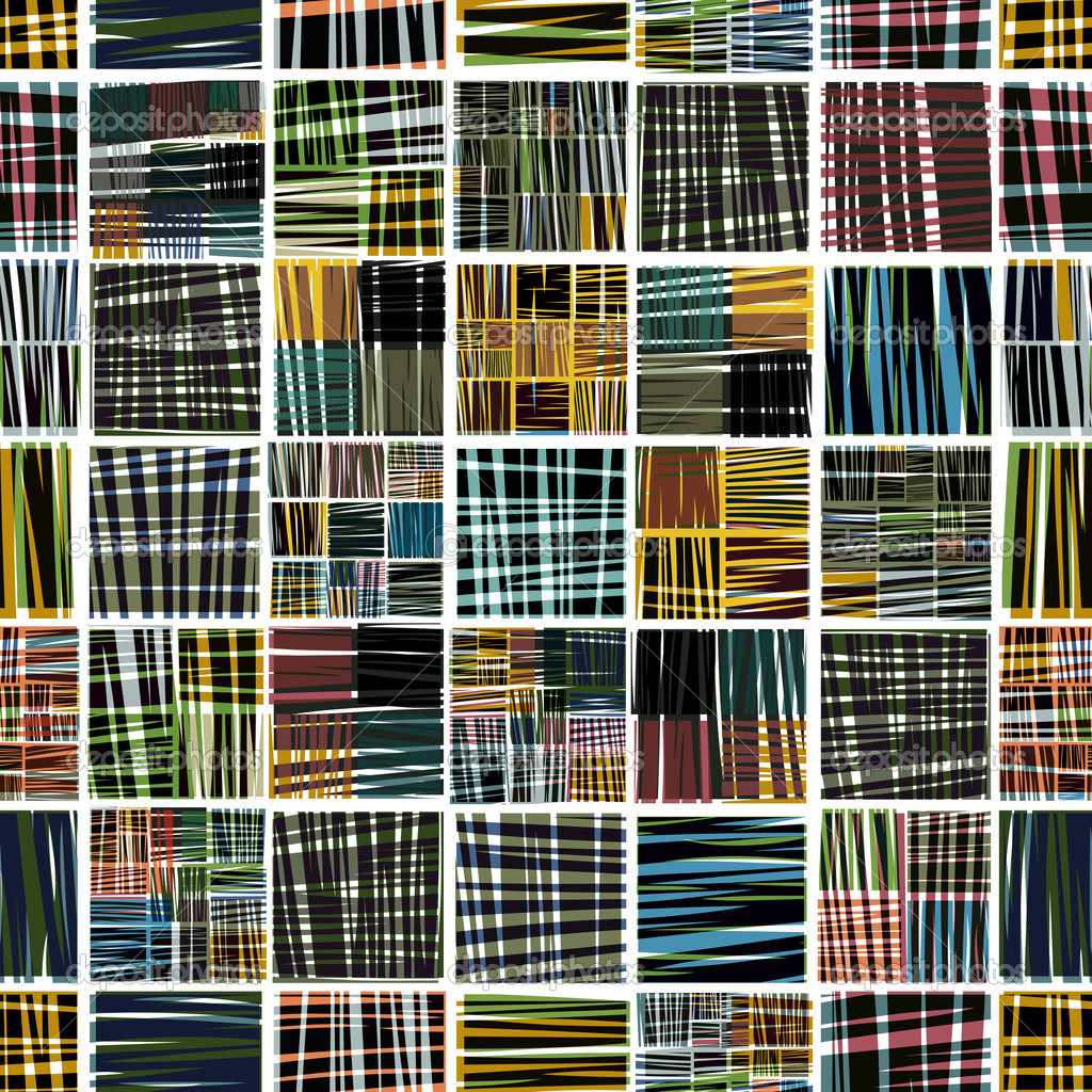 Colorful textile seamless pattern, vector background. Each element can be used as seamless separately, just choose, copy and flip. — Stock Vector #6730516