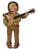 Hippie med en gitarr — Stockfoto